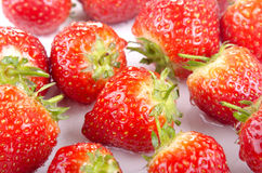 Strawberries are cleaned prior to processing Stock Photo