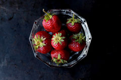 Strawberries on Clear Glass Bowl Stock Photos