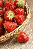 Strawberries. Close-up of basket with fresh strawberries stock photo