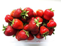 Strawberries. Close up basket with strawberries on white background Stock Photography