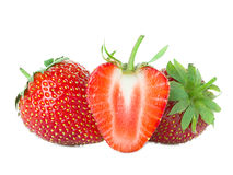 Strawberries close-up isolated on white Stock Image
