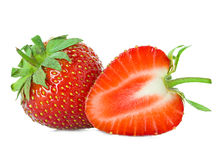 Strawberries close-up isolated on white Royalty Free Stock Photography