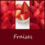 Strawberries closeup collage ( text in french) Stock Images
