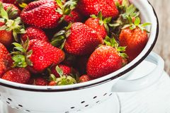 Strawberries in colander Stock Images