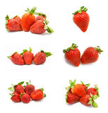 Strawberries collection isolated on white Stock Photos