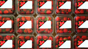 Strawberries in containers with labels Royalty Free Stock Photo