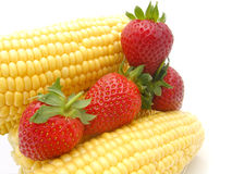 Strawberries with corncob Royalty Free Stock Image