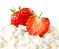 Strawberries and cottage cheese Royalty Free Stock Photo