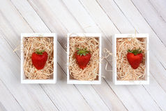 Strawberries in Crates Royalty Free Stock Image