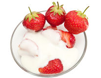 Strawberries with cream Royalty Free Stock Photos