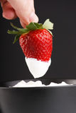 Strawberries and cream. White on red Royalty Free Stock Photos