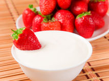 Strawberries and cream Stock Image