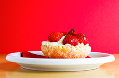 Strawberries and Cream Cake Stock Photo