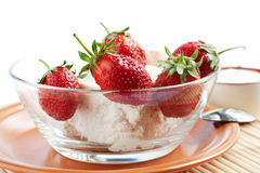 Strawberries and cream cheese Royalty Free Stock Images