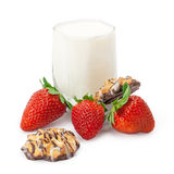 Strawberries with cream and cookies Stock Photography
