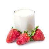 Strawberries with cream Stock Images