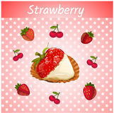 Strawberries with cream on a pink background Stock Photos