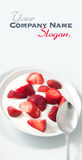 Strawberries and cream. Porcelain bowl with strawberries and cream yogourt stock photography