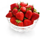 Strawberries in crystal bowl stock photo