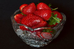 Strawberries in crystal. Royalty Free Stock Photography
