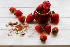 Strawberries in a Cup. Strawberry in Cup on white table. Summer Stock Photos