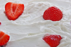 Strawberries in curd Stock Image