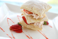 Strawberries and custard millefeuille Royalty Free Stock Image