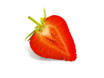 Strawberries cut. Ripe, white background Stock Images