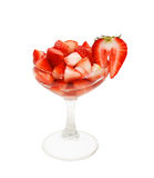 Strawberries cut in a glass Royalty Free Stock Photos