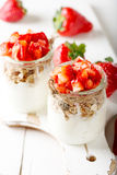 Strawberries desert with cream and cereals Royalty Free Stock Photography