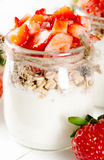 Strawberries desert with cream and cereals Stock Image