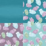 Strawberries on different dark blue backgrounds. Blue seamless pattern with blue and pink strawberryes. Strawberries on different dark blue backgrounds royalty free illustration