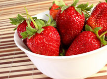 Strawberries on dish Stock Photo