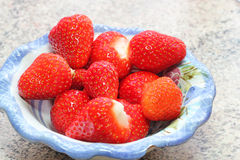 Strawberries in a dish. Royalty Free Stock Photos