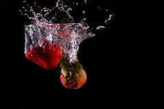 Strawberries and water. royalty free stock images