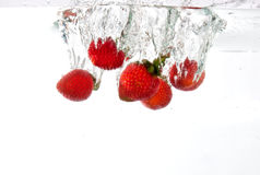Strawberries dropped into water splash Royalty Free Stock Image