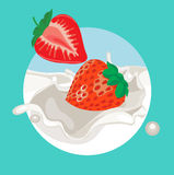 Strawberries falling in cream splash Royalty Free Stock Photography