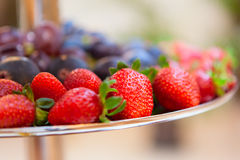 Strawberries and figs on a plate. Strawberries and figs on a silver plate royalty free stock image