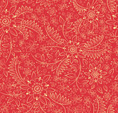 Strawberries and flowers. Red background with a pattern of strawberries and flowers Royalty Free Stock Image