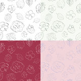 Strawberries and flowers - seamless pattern Stock Photos