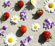 Strawberries and flowers Stock Photo