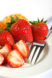 Strawberries with fork Royalty Free Stock Images