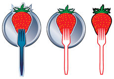 Strawberries and forks Royalty Free Stock Images