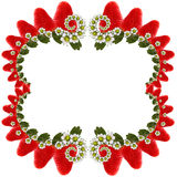 Strawberries frame. A beautiful frame with strawberry end flower on a white background Stock Photography
