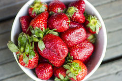 Strawberries. Fresh red strawberries fruit in bowl royalty free stock photos