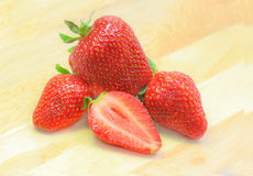 Strawberries. Fresh with on wood Royalty Free Stock Photography