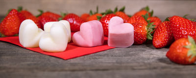 Strawberries and frozen yogurt, Froyo Bites in a heart shape. Panorama Royalty Free Stock Photos