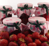 Strawberries: fruits and jams stock photo