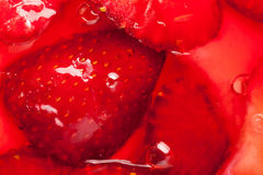 Strawberries in gelatin Stock Photos