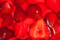 Strawberries in gelatin Stock Photo